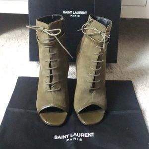 Authentic Saint Laurent army green booties